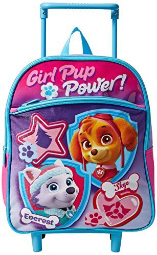 Nickelodeon Girls' Paw Patrol 12 inch Rolling Backpack:   This adorable 12 inch rolling backpack features the girl paw patrol characters Skye and Everest on fun pink/purple background. Lightweight and easy to wheel.