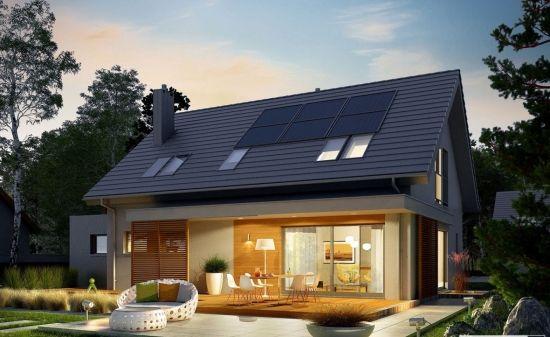 Casa de vis cu terasa din lemn si mansarda.