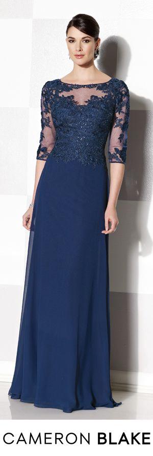 Cameron Blake Fall 2015 - Style No. 215643 cameronblake.com #eveninggowns #motherofthebridedresses #navyeveninggowns
