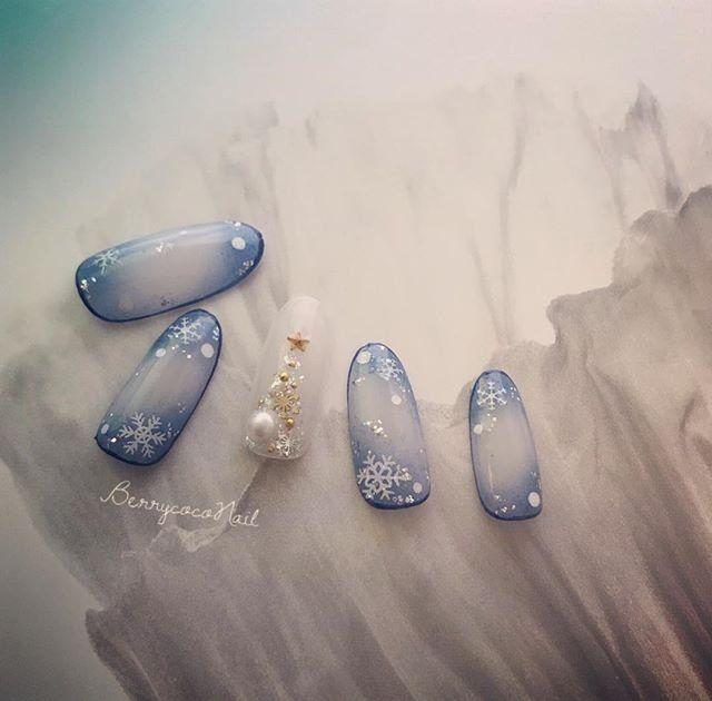 冬/ハンド/雪の結晶/ホワイト/水色 , BerrycocoNailのネイル