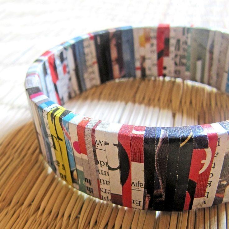 Recycled Newspaper bangle bracelet. $29