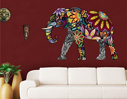 Wall Decal no.651 Elephant Pattern 108x75cm, Dimensions:7…