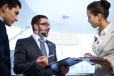 Manager's explanation Royalty Free Stock Photo