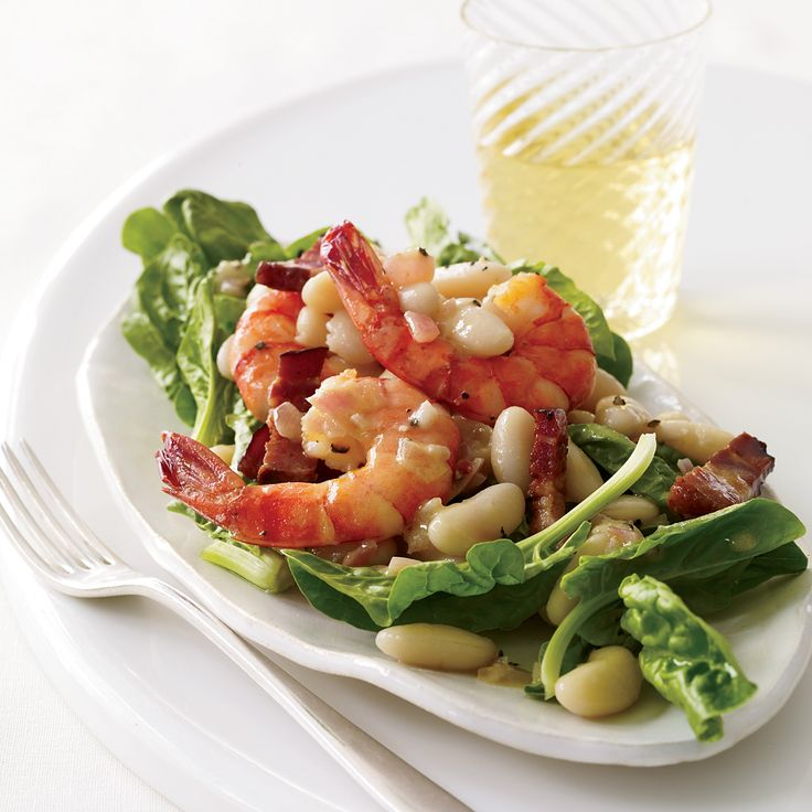 The combination of sweet shrimp and meaty little cannellini beans here transforms a simple warm spinach salad.    More Salad Recipes   ...