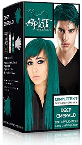 Splat Hair Colorsplat kit Deep Emerald Hair color. When non-bleach, it is much lighter and would look good for tips.