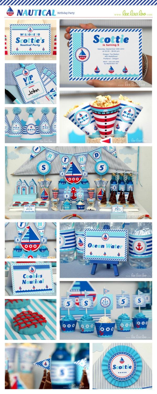 Nautical Birthday Party Package Collection Set Mega Personalized Printable // Nautical - B23Pz2. $35.00, via Etsy.