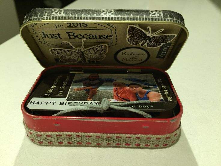 Altoid Tin made into a birthday card with pull out photographs
