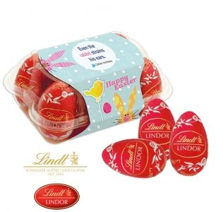 Promotional Lindt Easter egg box with 6 luxury Lindt Lindor milk chocolate eggs