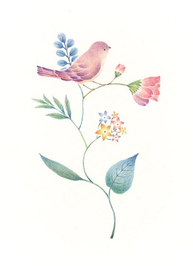 """Little Purple Bird and Flowers"" −RiLi, picture book, illustration, design…"