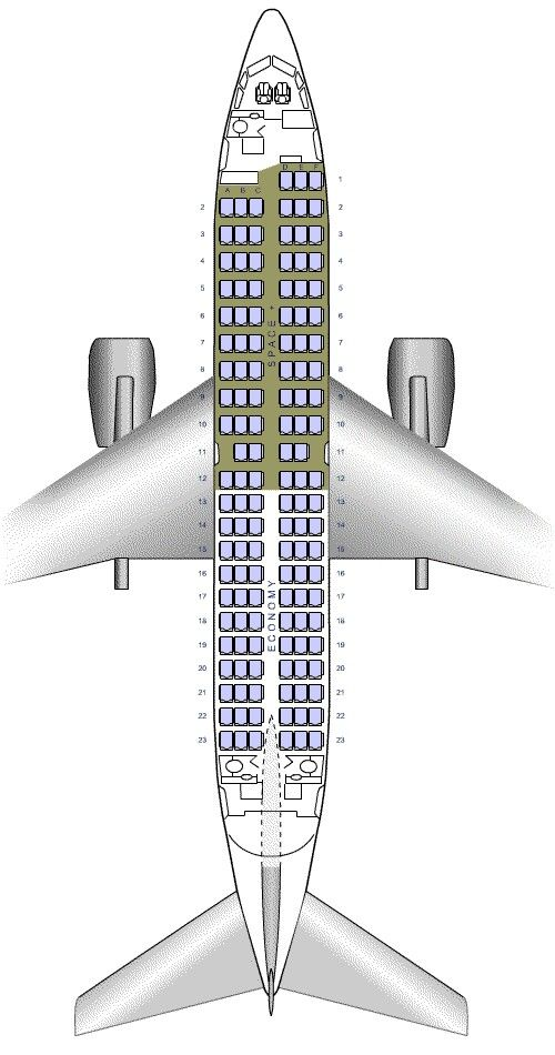 Air New Zealand 737-300 seating plan October 2013