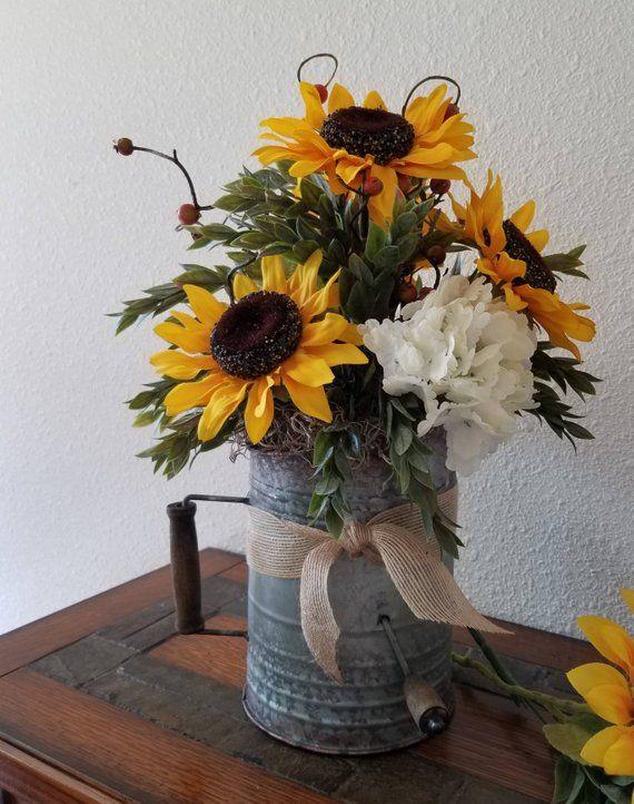 Rustic Floral Arrangement Sunflower Floral Arrangement Rustic Fall Floral Arrangement Rustic Wedding Centerpiece Housewarming Gift Sunflower Floral Arrangements Sunflower Centerpieces Fall Floral Arrangements