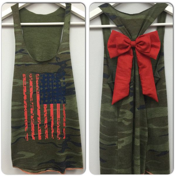 American Flag Bow Tank Top Camo Tank Star Tank Top 4th of July Tank... ($30) ❤ liked on Polyvore featuring tops, tanks, black, women's clothing, camo tank top, american flag racerback tank, american flag tank top, american flag shirt and camoflauge shirt