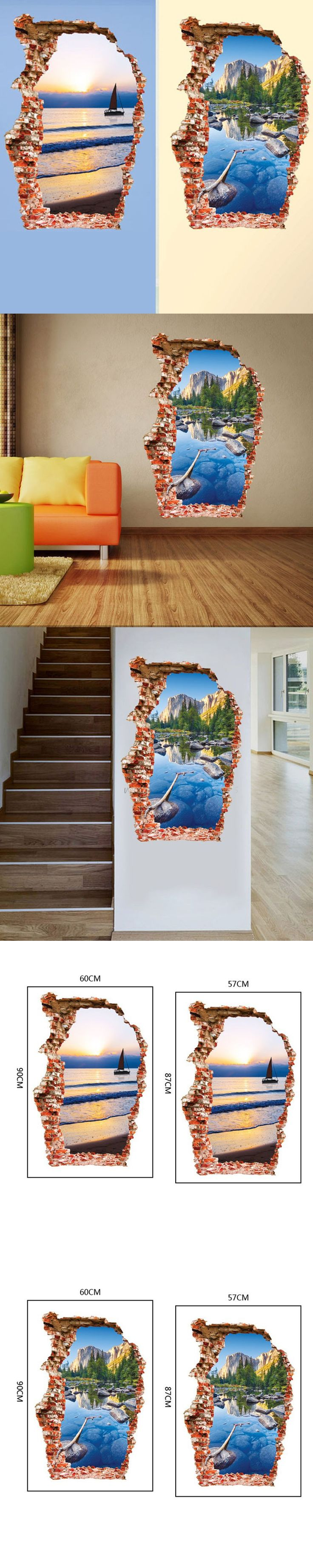 Fashion nature 3D sticker Wall Sticker 60*90CM brook green hill mural Home Decor wall decals for kids room landscape poster $5.65