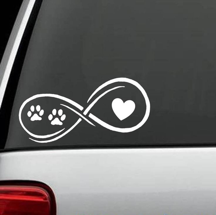 Infinity heart and paws car decal this decal is a wonderful way to show your