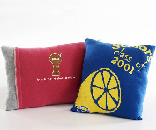 old t-shirts made into pillows.  Wish i still had my old Morrissey t-shirt!
