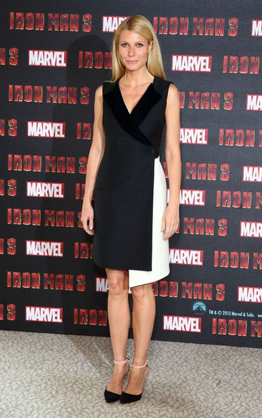 Gwenyth Paltrow wearing Christian Dior Pre-Fall 2013 dress Manolo Blahnik BB Strap pump Repossi Berbere Ring Iron Man 3 photocall at The Dorchester in London April 17 2013