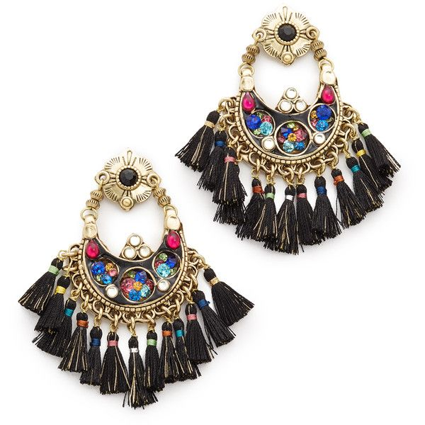 GAS Bijoux Eventails Earrings (3,975 MXN) ❤ liked on Polyvore featuring jewelry, earrings, black multi, gold plated earrings, multi colored earrings, kohl jewelry, multicolor jewelry and tassel earrings