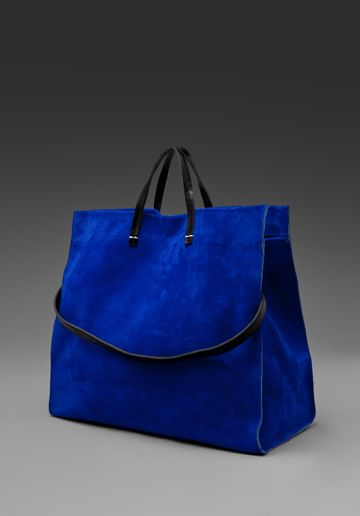 CLARE VIVIER Suede Tote in Royal Blue at Revolve Clothing