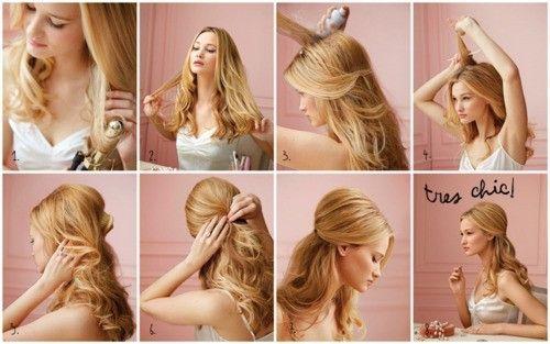 Step by Step to do a Tres Chic Hair...Hair Ideas, Curling Irons, Teased Hair, Holiday Hair, Loose Curls, Hair Tutorials, Half Up, Wedding Hairs, Hair Style