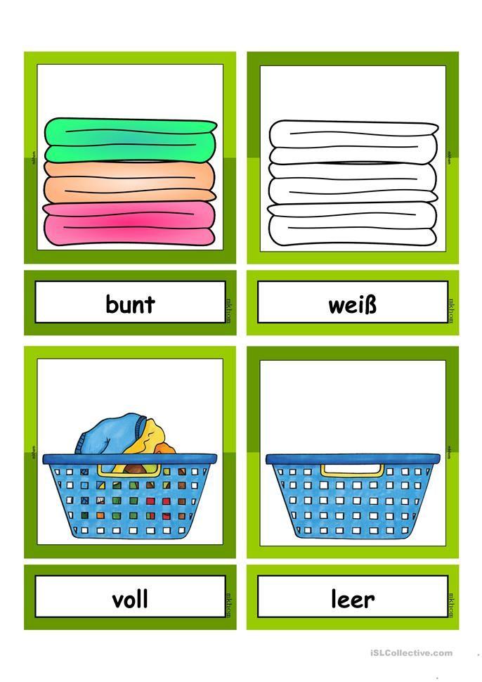 waschtag adjektive flashcards klein gegens tze adjektive deutsch adjektive und deutsch lernen. Black Bedroom Furniture Sets. Home Design Ideas