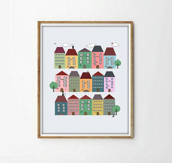 kids art room kids room decor cat nursery print houses