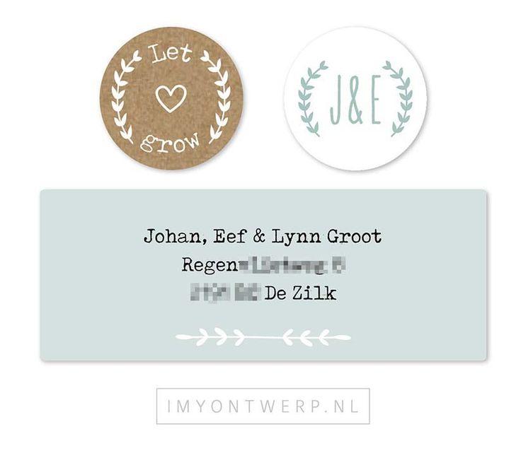 Sluitzegels en adresetiketten trouwkaart Eef en Johan