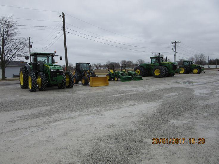 John Deere tractors lined up for sale