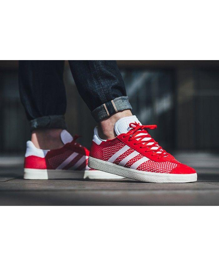 low priced 27634 db9f3 Adidas Australia Gazelle Primeknit Red White Trainers