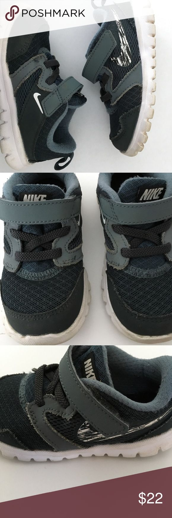 Nike Flex Experience- Toddler Sneakers Nike Flex Experience - Toddler Sneaker in blue, gray and black. Velcro closure, no need to fuss with ties. Easy on and off. Good condition, lots of life left. Nike Shoes Sneakers