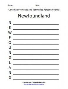 Canadian Provinces and Territories Acrostic Poem Downloads