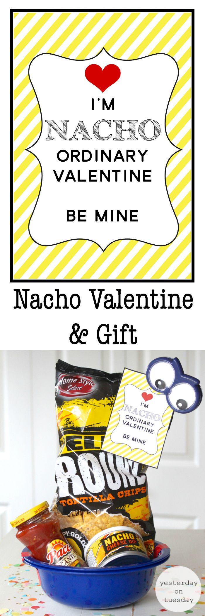 Nacho Valentine and Gift Funny Nacho Ordinary Valentine, a free printable fun wi...