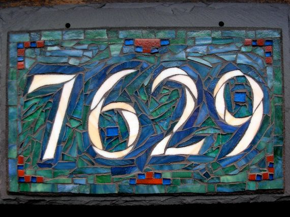 Mosaic House Number on Slate 4 digitsmall by nutmegdesigns on Etsy, $155.00