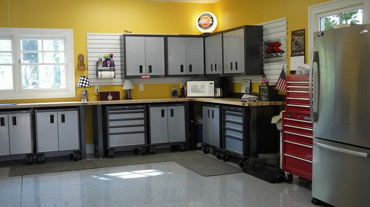Makeover extra garage space into the perfect workshop/man cave.