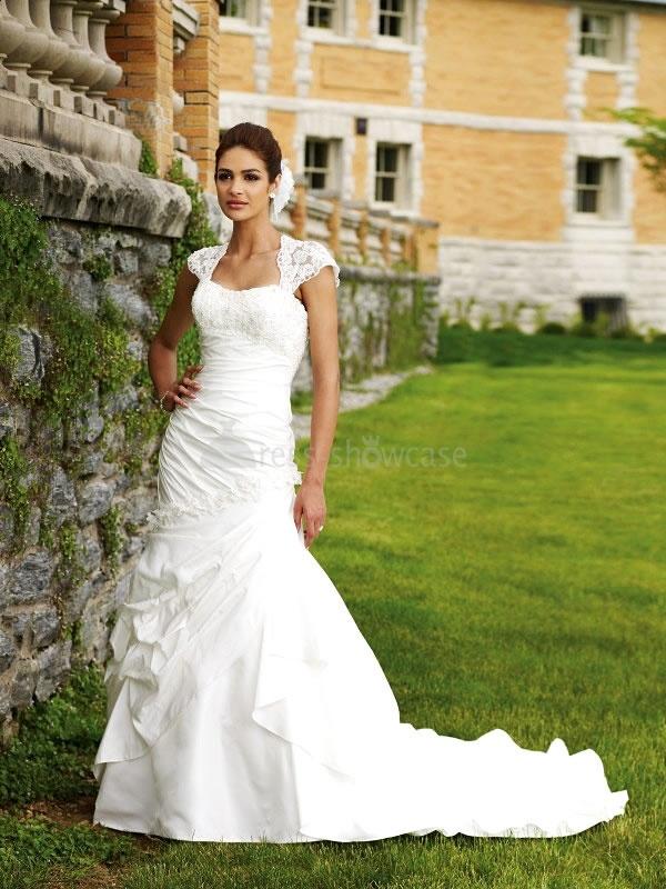 Short Sleeve Sweetheart Satin Lace Mermaid/ Trumpet Best Wedding DressesIdeas, Queens Anne, Wedding Dressses, Lace Wedding Dresses, Mermaid Wedding Dresses, Ivory Wedding, Cap Sleeves, The Dresses, Open Back
