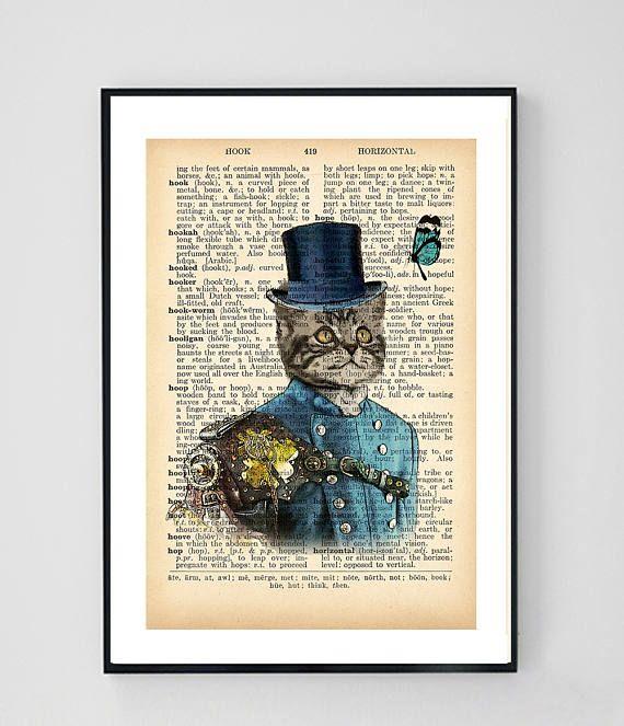 Steampunk Cat Art Print Dictionary Art Print Cat Wall Art
