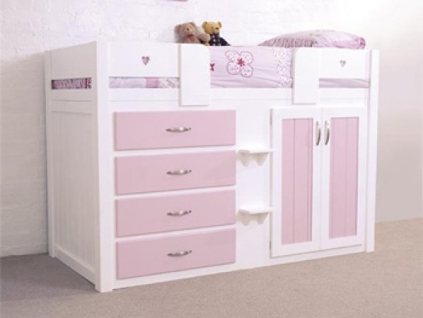 4 Drawer Pink Cabin Bed Clever Small Room For B