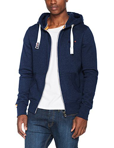 Get branded with SUPERDRY! This Blue Zip Up Hoody is a wardrobe must have! Featuring zip fastening, drawstring hood with embroidery logo on the front. Team with skinny jeans, trainers and a tee to complete your look!