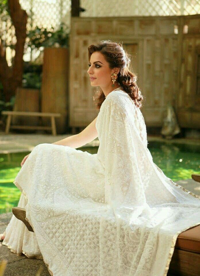White chikan embroidered saree