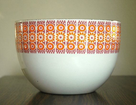 Rare Collectable Finel Arabia of Finland Kaj Franck Enamel Bowl - Large White, Purple, and Orange Daisy Pattern