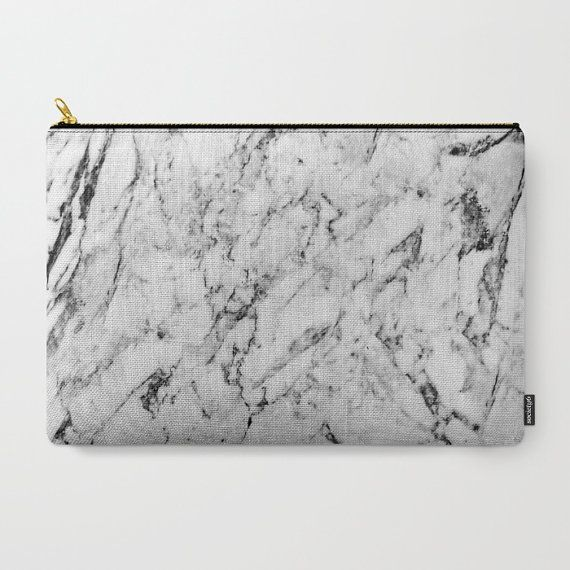 + Carry-All Pouch with Trending Marble Pattern - Makeup / Toiletry Bag + Strong canvas-like exterior and a 50/50 poly-cotton black interior lining