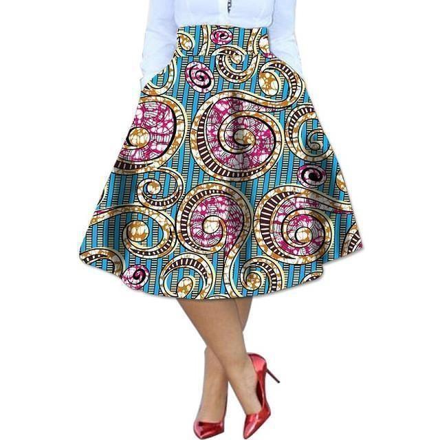 Elegant Women Skirts African Print Dashiki Kitenge Skirts African Clothing-Skirts-Women-Clothing-Online-Shopping-S-LeStyleParfait.Com