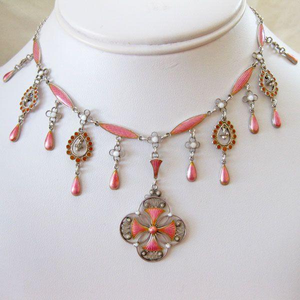 Antique Marius Hammer Necklace 930 Silver Pink Enamel