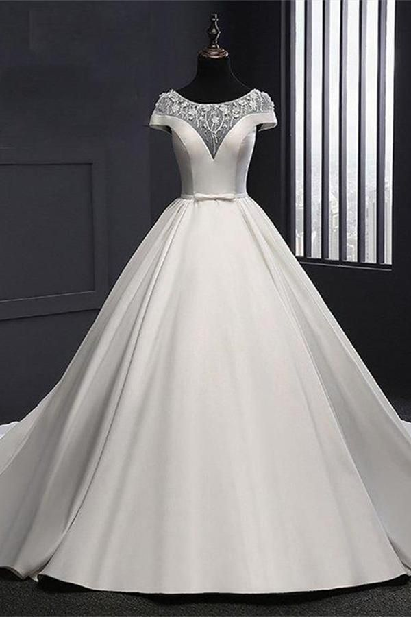 Chic Round Neck Lace Satin Short Sleeves Long Ball Gown Formal Wedding Dress W445 With Images Satin Wedding Dress Simple Ball Gowns Wedding Wedding Dresses Satin