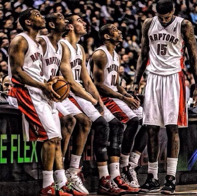 L) This picture represent the Toronto Raptors who are waiting to get into the game. The Toronto Raptors personally one of my favourite teams and the best hometown team to ever watch. The Toronto Raptors have struggled for several years, but with hard work and a dedicated coach and team, they have managed to reach the playoffs and regain their popularity since the last time in 2008.