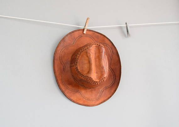 Vintage Tooled Leather Hat Mexican Hat Tooled Mexican Tooled
