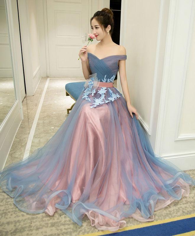 Gray blue tulle off shoulder long prom dress, gray blue evening dress