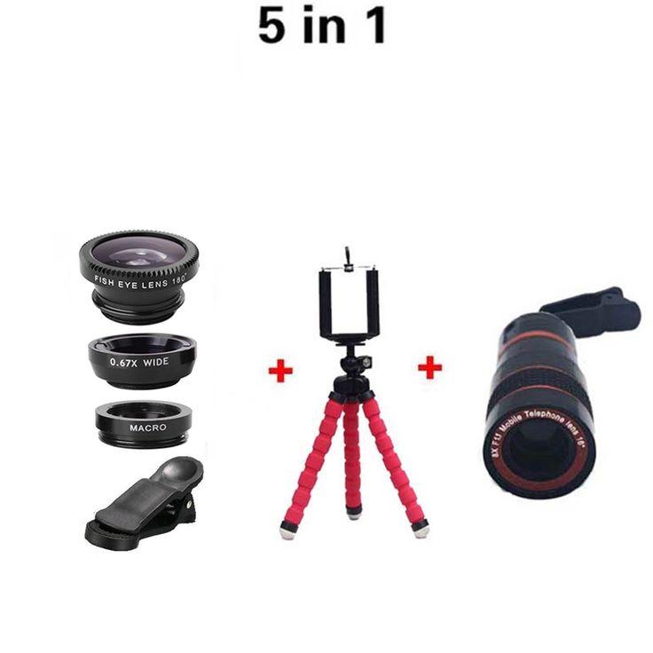 Lens 8X Zoom Camera Telephoto Lens Camera Kit Fisheye Wide Angle Macro Lenses + Flexible Tripod For iPhone 6s Samsung Huawei HTC