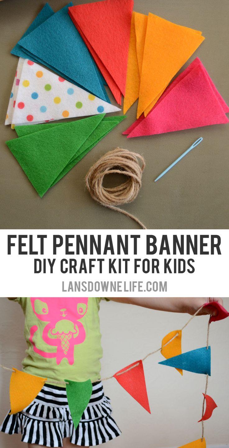 Craft kits for preschoolers - Diy Craft Kits For Kids Felt Pennant Banner