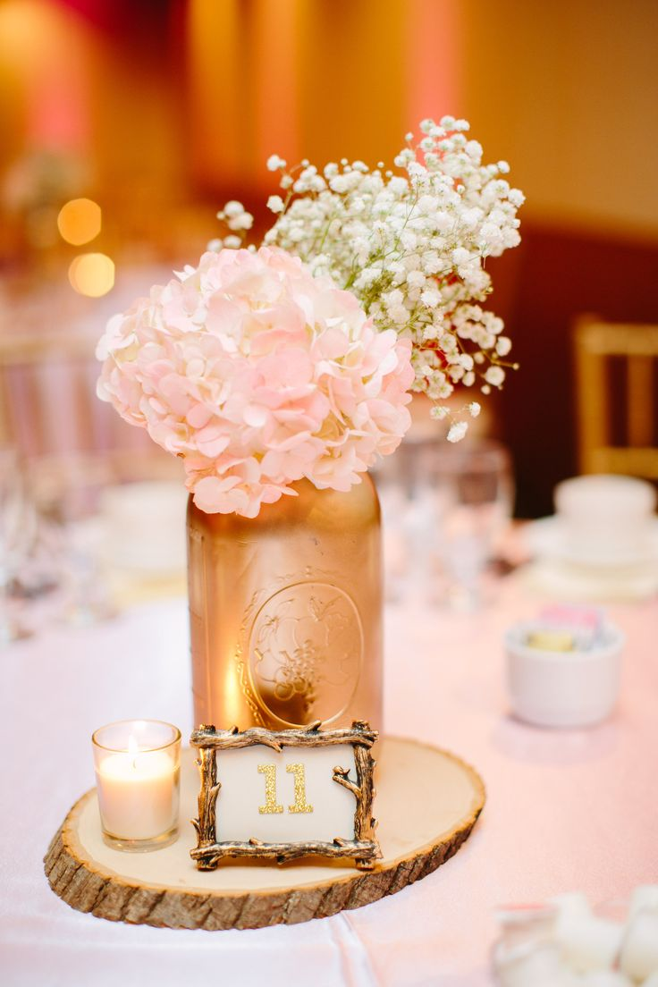 babies breath hydrangea blush and gold mason jar centerpiece blush and gold wedding