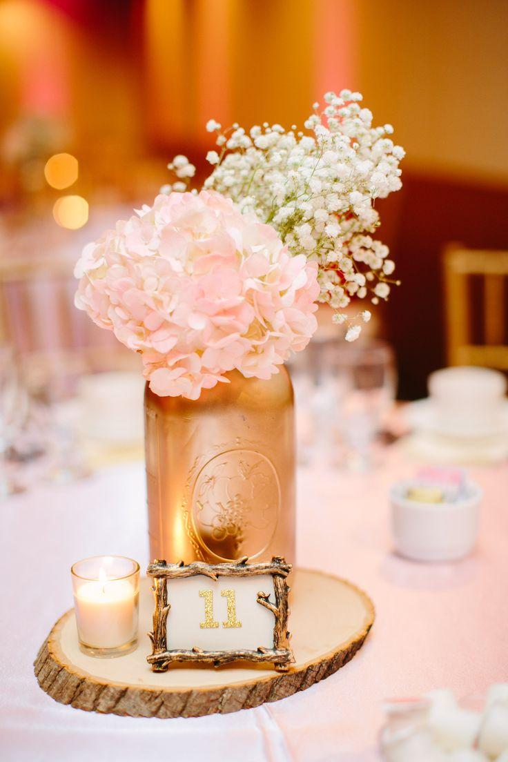 babies breath hydrangea blush and gold mason jar centerpiece blush and gold wedding